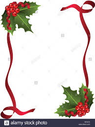 christmas berries with red ribbon and green leaves over white