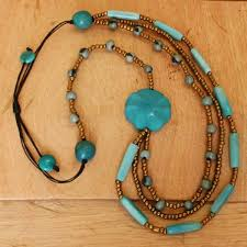 wholesale beaded necklace images Triple strand blue beaded necklace jpg