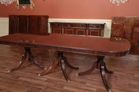 expandable dining room table triple pedestal dining table