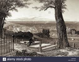 tombstone engraving harrow depicts lord byron sat dreaming by his favourite tombstone