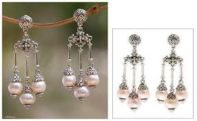 pearl chandelier cultured pearl chandelier earrings in pink novica