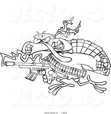 vector of a cartoon rambo turkey bird coloring page outline by