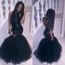 sparkly black girls mermaid african prom dresses 2017 halter neck