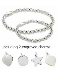 engraved bracelets silver bracelets set with two engraved charms kaya jewellery uk
