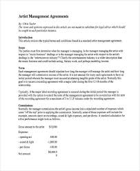 artist management contract template 4 entertainment contract