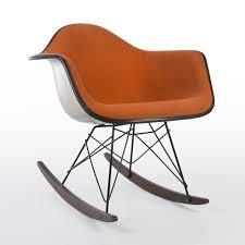 original alexander girard upholstered orange eames rar rocking arm