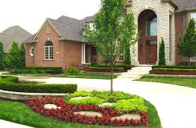front yard landscape ideas low maintenance landscaping red brick