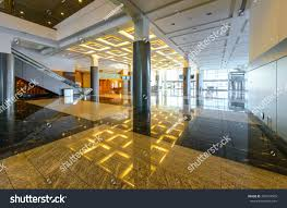 perspective modern lobby hallway luxury hotel stock photo