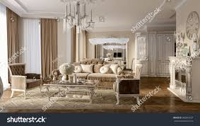 luxury classic interior dining room kitchen stock illustration