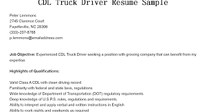 Resume Samples For Truck Drivers With An Objective by Driver Resumes Cdl Truck Driver Resume Sample