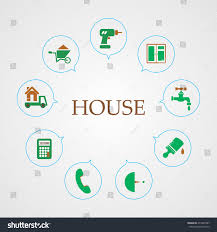 set icons building house calculator trucking stock vector