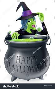 cartoon witch looking over her bubbling stock vector 156267779
