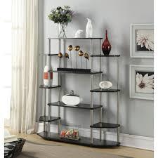 Black Wall Bookshelf Convenience Concepts Black Wall Unit Bookshelf 131201 The Home Depot