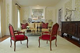 palatial red fabric seater arm chairs wooden frames as well as mid