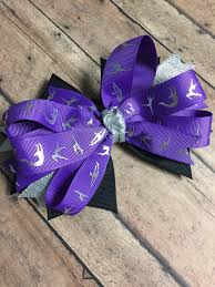 ribbon for hair that says gymnastics gymnastics bow purple gymnastics ribbon ponytail by twolooseloops