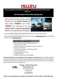 l post replacement parts vacancy insathosa motors plc post of sales officers spare parts