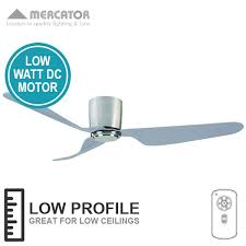 Low Height Ceiling Fan by Mercator City Ceiling Fan With Remote Low Profile Brushed
