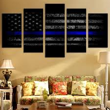 thin blue line us flag canvas printed wall art for home decor u2013 my