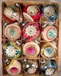 vtg shiny brite mercury glass xmas ornaments mica indents w box