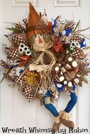 fall burlap mesh scarecrow wreath in blue orange u0026 brown front