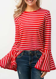 striped blouse bell sleeve neck striped blouse rosewe com usd 28 66