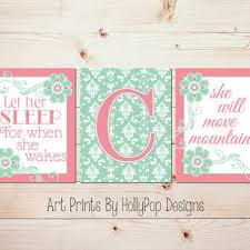 Pink And Green Nursery Decor Baby Nursery Decor Pink Green Wall From Hollypop Designs