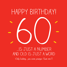 60 years birthday card 60th birthday card happy jackson 60 just a number