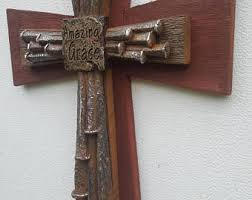 barbed wire rustic cedar wood wall cross decor barbed wire