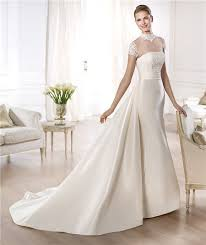 sheer sleeve wedding dresses line high neck cap sleeve sheer tulle satin wedding dress with