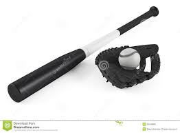 baseball bat and leather glove isolated royalty free stock photos