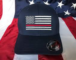 Embroidered American Flag Free Personalization Thin Red Line Fire Fighter American Flag Hat