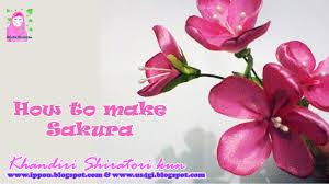 cara membuat bunga dari kertas pita jepang cara membuat bunga sakura dari pita ribbon sakura youtube