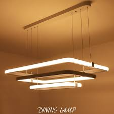 hanging ceiling lights for dining room modern 3 square rings led pendant lights acrylic metal suspension