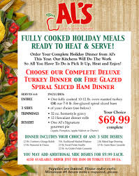 al s at your service order our complete thanksgiving dinner and