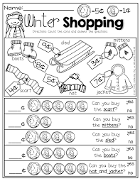 Coin Worksheets Winter Shopping With Nickels And Pennies Prefect For Adding Up To