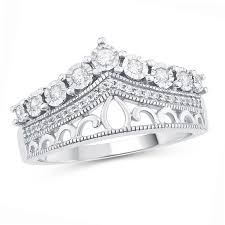crown rings images 1 4 ct t w diamond vintage style crown ring in sterling silver jpg