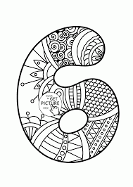 pattern number 6 coloring pages for kids counting numbers