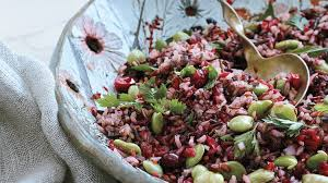 rice and lima bean salad with cranberry relish