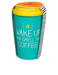 travel mug happy jackson smell the coffee turquoise yellow travel mug mugs