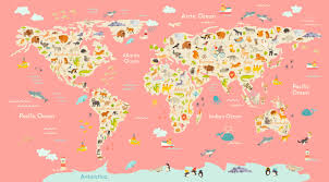 Animal World Map by Kids Room World Map Large Animal Map Kids Room Art Kids Wall Art