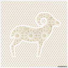 greeting card with silhouette of ornamental sheep and traditional
