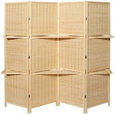 Folding Room Divider Deluxe Woven Beige Bamboo 4 Panel Folding Room Divider Screen W
