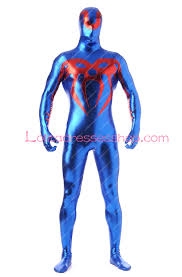 cheap blue and red shiny metallic spiderman zentai suit fancy
