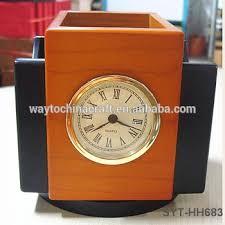 Wood Desk Clock Custom Logo Wooden Pen Holder High End Desk Clock With Pen Holder