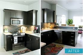 Painted Black Kitchen Cabinets Before And After Painting Kitchen Cabinets Painting Kitchen Cabinets A Dark Color