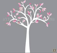 owl decal owl tree wall sticker pink grey owls owl wall