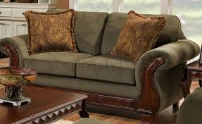 Traditional Sofa Fabric Traditional Sofa U0026 Loveseat Set W Carved Wood Legs