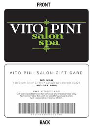 salon gift cards the vito pini gift card vitopini salon spa