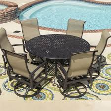 Acadia  Piece Sling Patio Dining Set With Swivel Rockers And - 7 piece outdoor dining set with round table