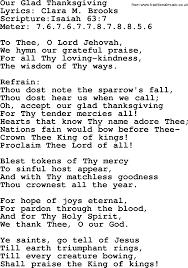 hymns our glad thanksgiving lyrics sheetmusic midi